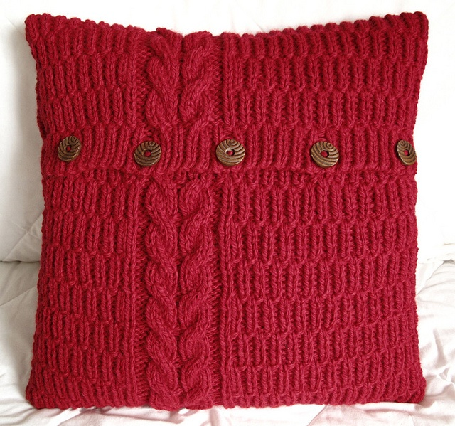 reflected cable & rib cushion cover in rouge by A Crooked Sixpence, via Flickr