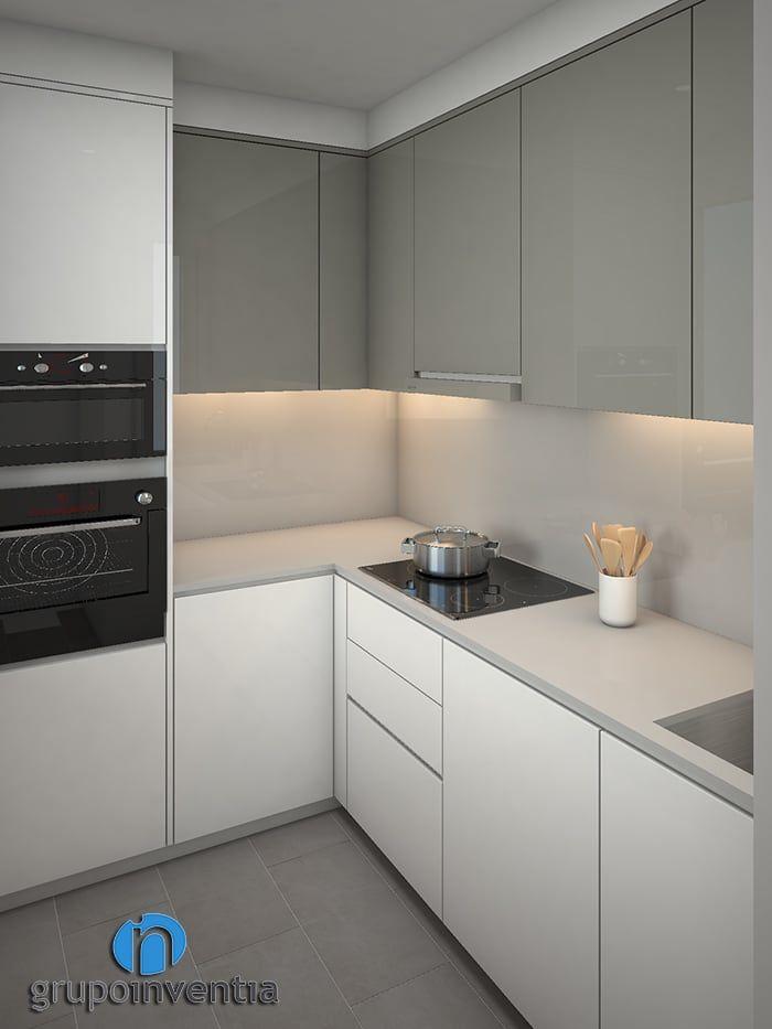 Busca imágenes de Cocinas de estilo moderno en blanco: Cocina distribuida en L. Encuentra las mejores fotos para inspirarte y crea tu hogar perfecto.