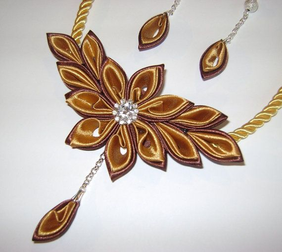 Handmade kanzashi satin fabric browngold set of by Decorrencia