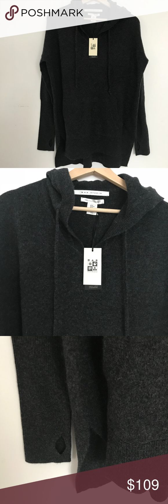 MAX STUDIO Oversized 100% Cashmere Hoodie GRAY L So comfy!  Dark Gray 100% 2-ply cashmere Hoodie with drawstring, longer back hem, and finger holes.  Dark Gray size LARGE Max Studio Sweaters