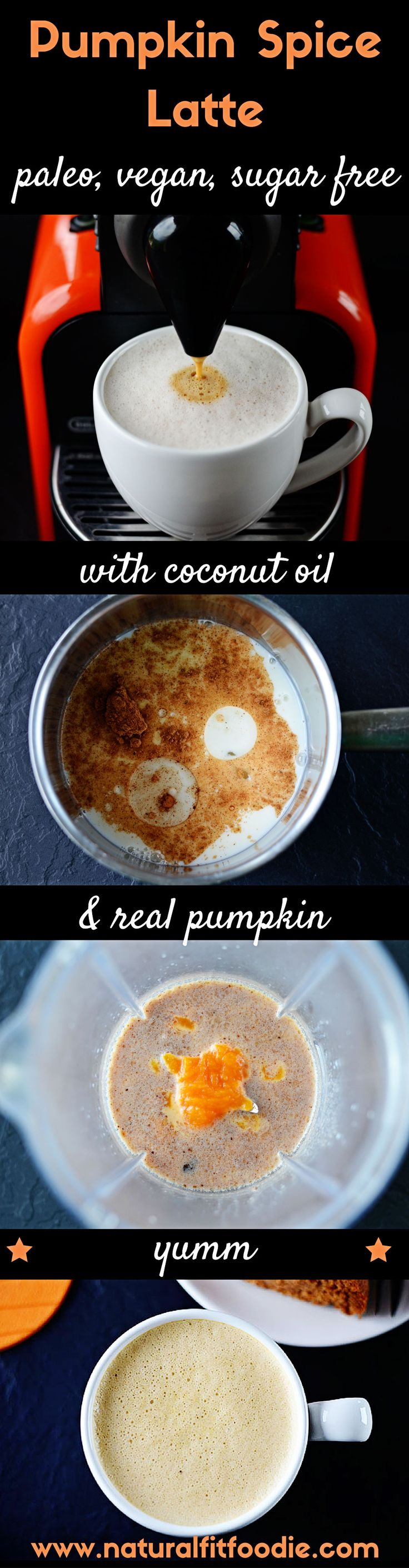 Pumpkin Spice Latte - A delicious warming pumpkin spice latte made with coconut oil, real pumpkin and homemade pumpkin spice mix. This pumpkin spice latte is real food at its best!