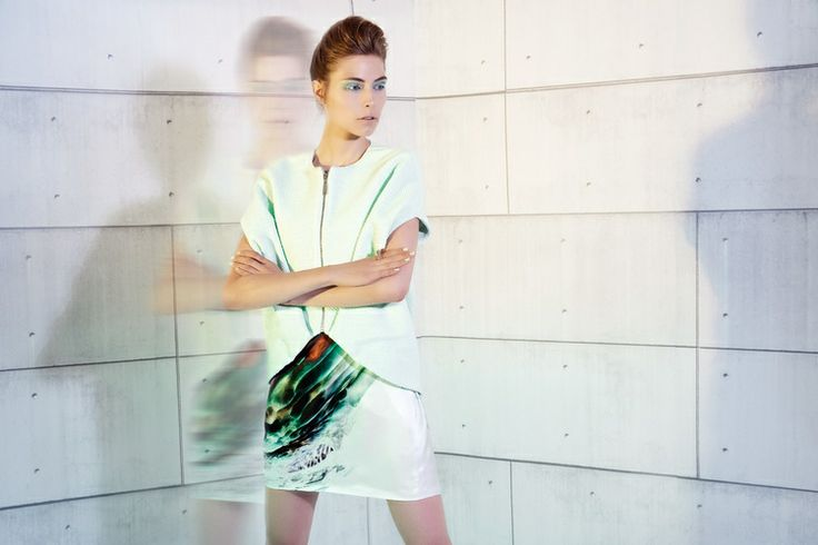 UNEINS Frida Silk Tankdress & Eva Leather Vest #uneins #ss14 #fashion #print #minimalist
