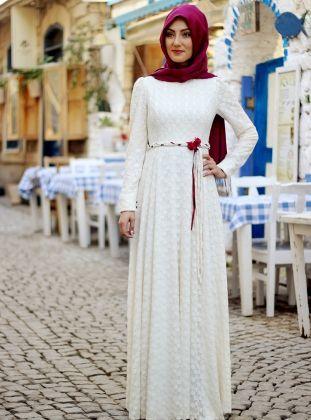 Belinay Elbise - Ekru - Nurkombin