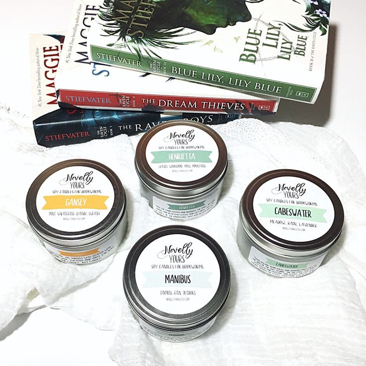 The Raven Cycle candle collection from Novelly Yours | Cabeswater, Manibus, Henrietta, Na Gansey https://www.etsy.com/listing/285703401/the-raven-cycle-collection-8oz-set-of