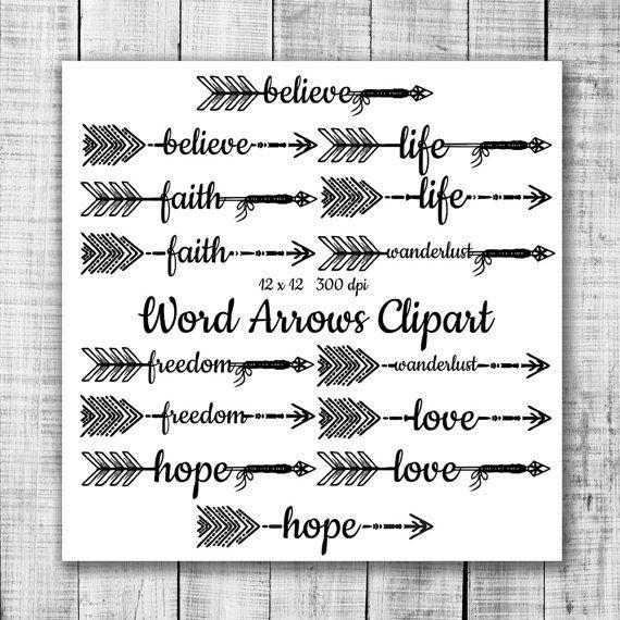 Hand Drawn Word Arrows Tribal Aztec Digital Clip by ItGirlDigital