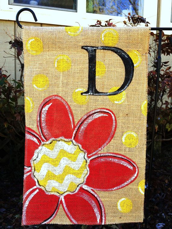 Burlap Garden Flag Red Flower with Chevron and Yellow Polka Dots and Monogram on Etsy, $20.00