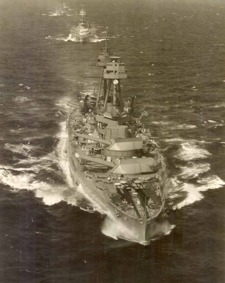 14 in Nevada class battleship USS Oklahoma pictured on manoeuvres in the 1930s - this pair were the US Navy's first oil fired dreadnoughts.  She capsized at Pearl Harbor under Japanese air attack on 7 December 1941 with the loss of over 400 of her crew, and unlike most of the ships present that day was too badly damaged ever to return to service.