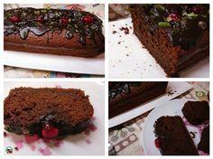 Bizcocho de chocolate y fruta escarchada