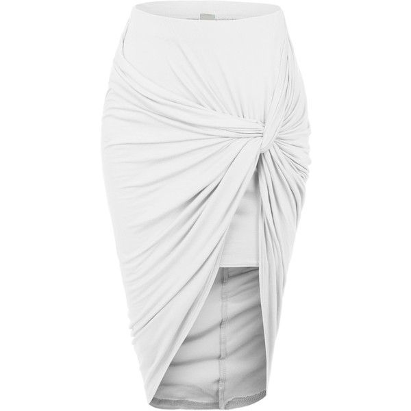 RubyK Womens Asymmetrical Banded Waist Wrap Cut Out Hi Low Maxi Skirt ❤ liked on Polyvore featuring skirts, long skirts, wrap skirt, high low skirt, floor length skirt and short front long back skirt