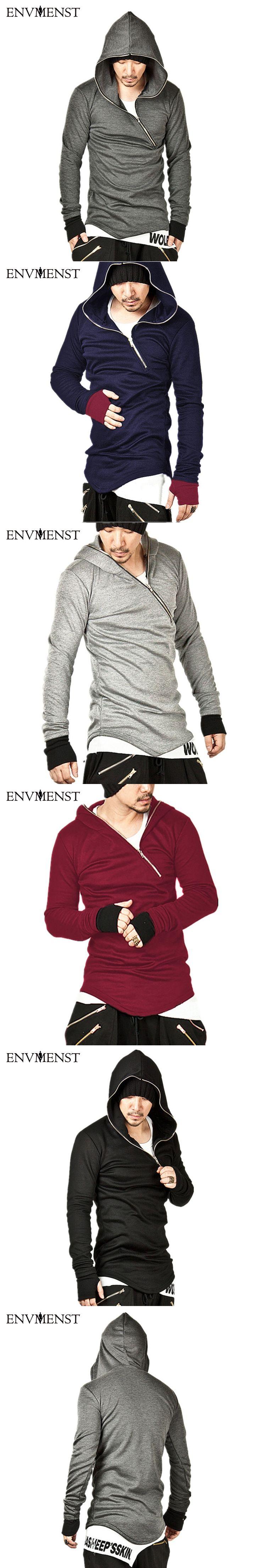 Envmenst 2017 High Street Designed Men's Gloves Sleeve Sweatshirts Hooded Oblique Zipper Stylish Hoodies Men Hip Hop Street wear