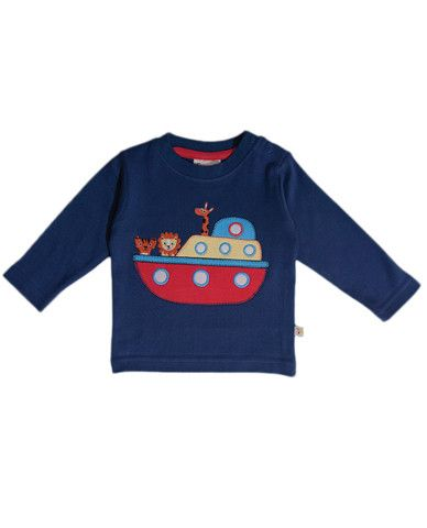 Baby Long Sleeve Applique T-Shirt by Frugi.  All on deck then, in this great little organic cotton t-shirt.  Very handy with long sleeves when it's not so warm and it has the little poppers on the side for simple changing.