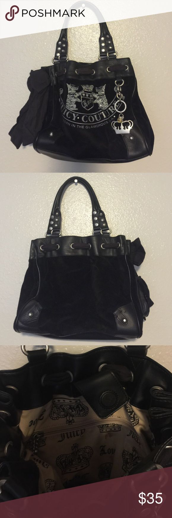 Juicy Couture Purse Juicy Couture black purse with crown and rhinestone keychain Juicy Couture Bags