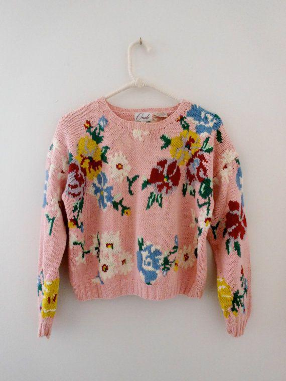 Vintage pink floral knit sweater.