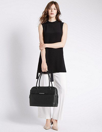 Leather Tote Bag with Zipped Padded Laptop Compartment | Marks & Spencer…