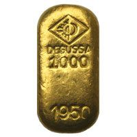 Alter Goldbarren der Degussa AG (Gussbarren) - http://www.goldbarren-wiki.de/degussa-goldbarren.html