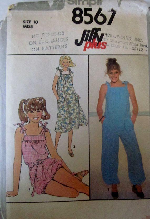 Simplicity 8567 Girl Jumpsuit Jumper Belt Pattern by Denisecraft, $5.99