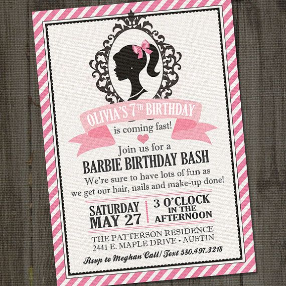 Inspired PRINTABLE Barbie Invitation, Barbie Birthday Party, Barbie Party Invitation, Barbie Invites,