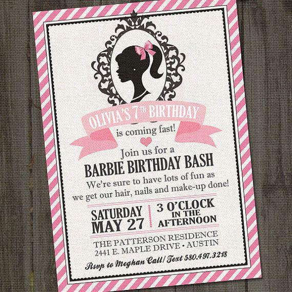 Inspirado invitación imprimible Barbie fiesta de por partymonkey