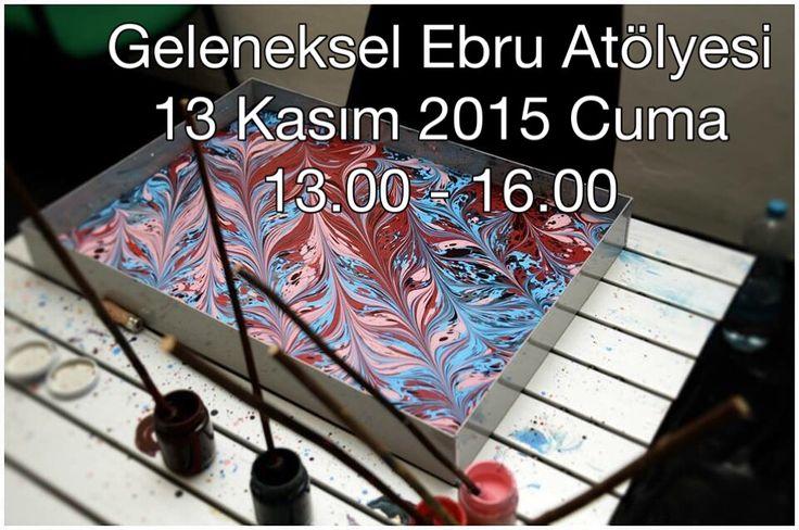 13. Kasım.2015 tarihinde Geleneksel Ebru Sanatı Atölye Çalışmamız gerçekleşecektir.  Kayıt ve bilgi için lütfen; 0533 482 33 33 ve / veya whatapp üzerinden iletişime geçiniz.  Keyif dolu günler dilerim.  Tarih: 13 Kasım 2015 Cuma,   Saat: 13.00 - 16.00 Atölye Eğitmeni: Kubilay Eralp Dinçer Kontenjan: 4 Tekne / 8 kişi Yer: Çekmeköy / Taşdelen  Bu atölyede geleneksel ebru sanatı ile tanışacak ve temel uygulama tekniklerini öğreneceksiniz. Gün sonunda yapmış olduğunuz ebrular evinizi süslemek…
