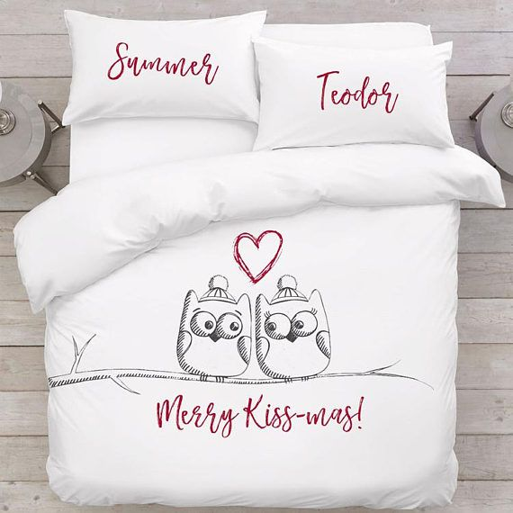 Owl bedding Christmas bedding sets Animal bedding Xmas gift for him her Couple bedding Romantic gift for couple Festive gifts Winter bedding  In the set: - 1 duvet cover (with zipped closure) - 2 pillowcases (Remember to let us know about your chosen pillowcase sizes!)  Romantic