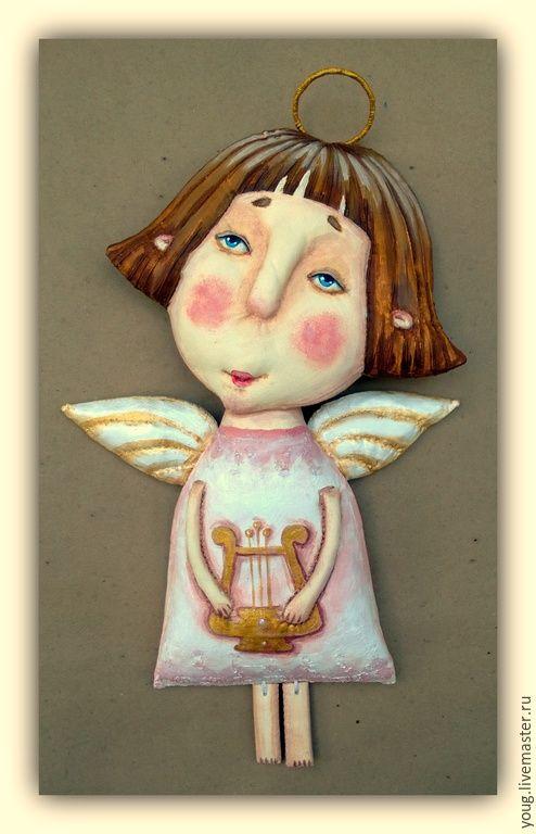 """Купить текстильная грунтованная кукла """"Ангел №2"""" - разноцветный, розовый, кукла, текстильная кукла"""