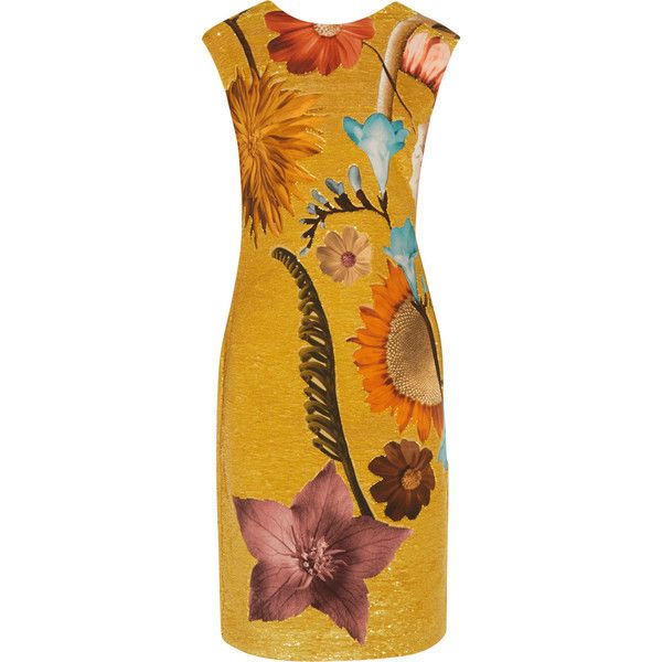 Missoni Sequin-embellished printed silk-chiffon dress (93,835 INR) ❤ liked on Polyvore featuring dresses, saffron, multi colored dress, yellow sequin dress, multi colored sequin dress, sequin dresses and yellow dress