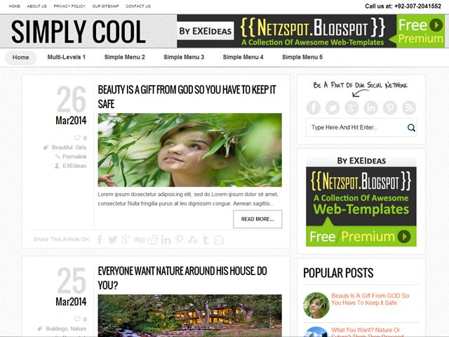 """Simply-Cool: A Free Premium Responsive Blogger Template:  A 100% Free Premium Responsive Blogger Template Named As """"Simply-Cool"""". A Free List Style Post Responsive And Mobile Layout Codings With Full Of SEO And SMO Codes And Also With A Better User Interference And Design On Basis Of Responsive Template With A Lot Of Plugin And Important Codes Added.  Full Info With Features, DEMO, Download At: www.exeideas.com/2014/03/SimplyCool-free-premium-responsive-blogger-template.html"""
