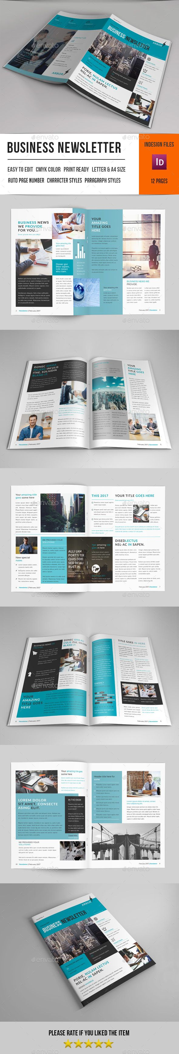 Business Newsletter Template InDesign INDD 316 best