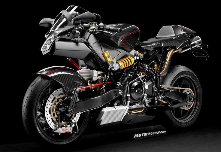 VYRUS 987 C3 4V 2016 http://www.motoprogress.com/fiche-moto.php?id_moto=1917 Moto sans fourche, faites entièrement à la main. Avec une base de moteur Ducati ou Honda..