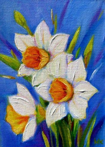 """Spring Pleasure"" 5x7 Oil, original painting by artist Meltem Kilic   DailyPainters.com"