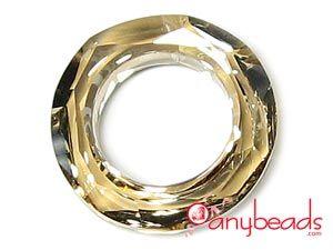 Golden Shadow - Austrian Swarovski Crystal Elements 4139 Cosmic Ring Pendant 20mm