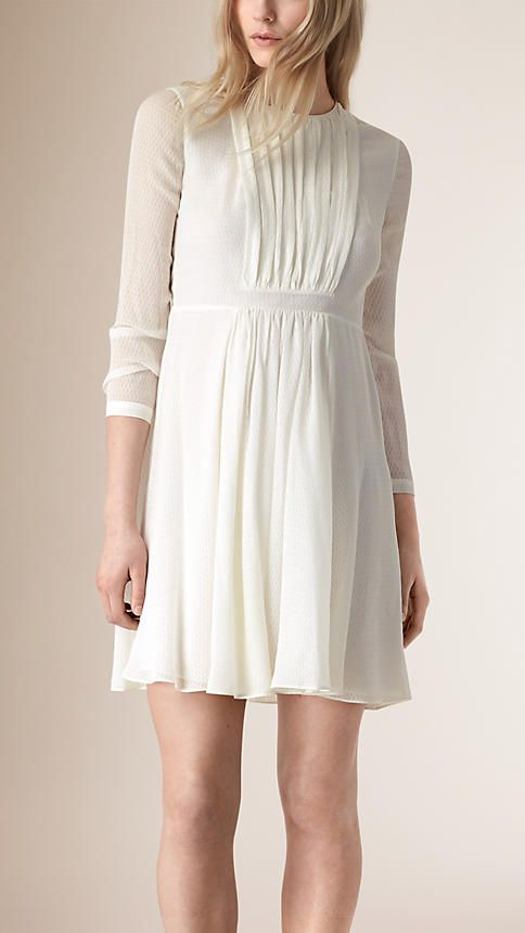 2016 White Textured Silk Crepe Dress - Image 1