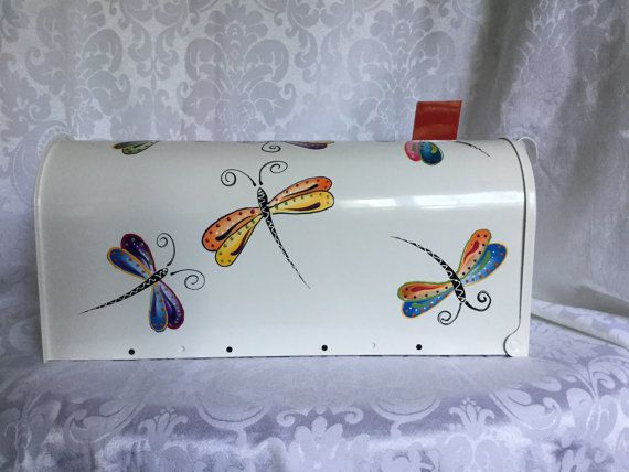Dragonfly Hand Painted Mailbox by TheGardenPot999 on Etsy