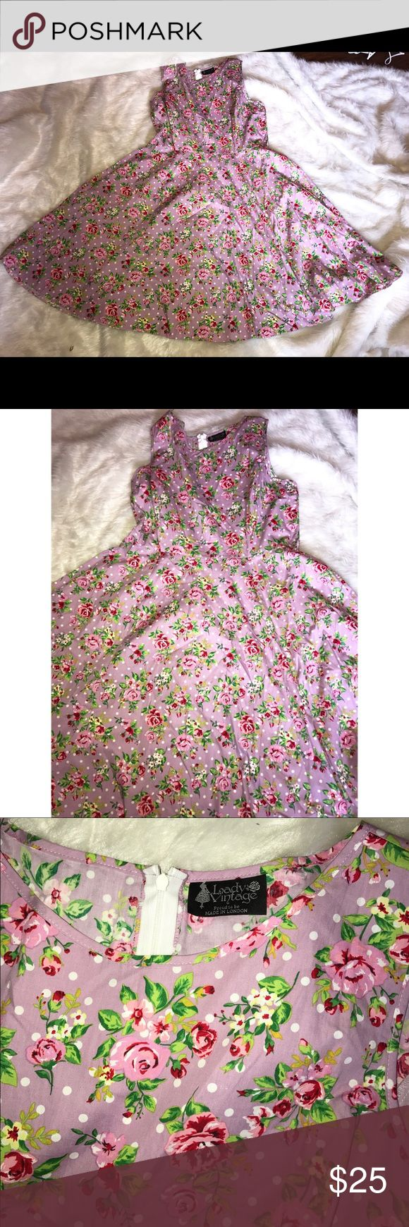 Lady vintage plus pinup rockabilly dress 20 Adorable pinup retro pinup dress. So cute! Excellent pre owned condition size 20. Lightweight in lavender with pink and red floral. No belt with this dress but does have loops. lady vintage Dresses