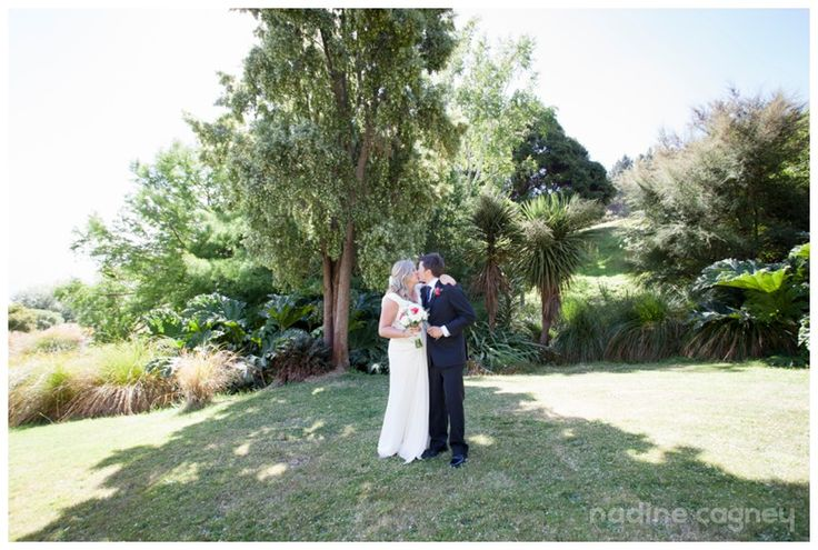 On a very hot and sunny but beautiful February wedding day held at Vernon Lodge, on the hill above Akaroa township. South Island, New Zealand.