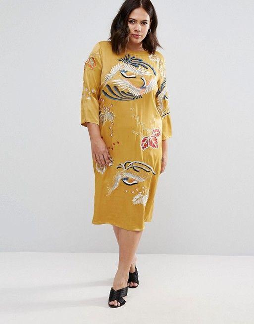 kraanvogel, asos curve, gele jurk,