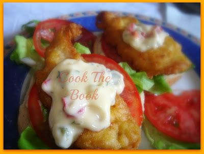 cookthebook: Aνοιχτό burger με σνίτσελ ψαριού
