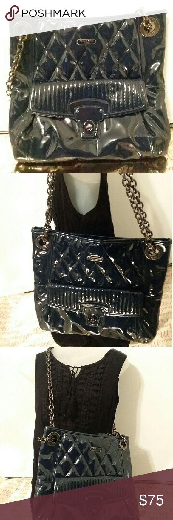 Coach Navy Shoulder Bag Coach navy shoulder bag. Good condition. NO TRADES. Coach Bags Shoulder Bags