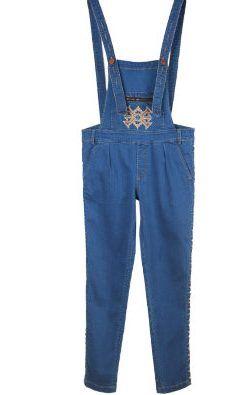 Ethnic embroidered denim overalls denim jumpsuit