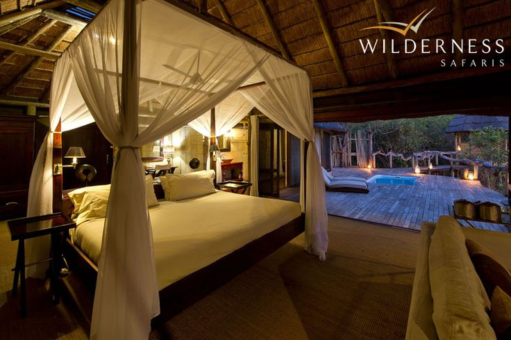 Kings Pool Camp has nine well-appointed tents (including one family unit) of canvas and thatch. Each has a large bedroom area, lounge, private plunge pool and 'sala'. #Safari #Africa #Botswana #WildernessSafaris