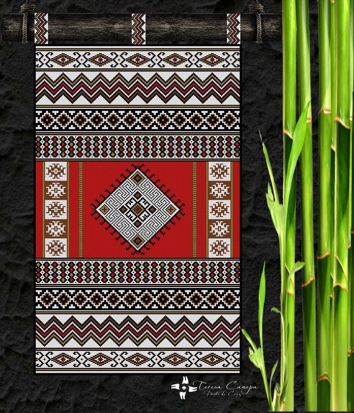 ✄ PATRON PUNTO CRUZ   Mural Inspiración Mapuche  Para bordar con Lanas Gruesas.  200 puntos de ancho  327 puntos de largo.  Medidas aprox. si se borda en esterilla gruesa y lanas gruesas:   83 Cm Ancho por 1,36 Mt Alto  Utiliza 5 colores http://puntocruzandino.weebly.com/