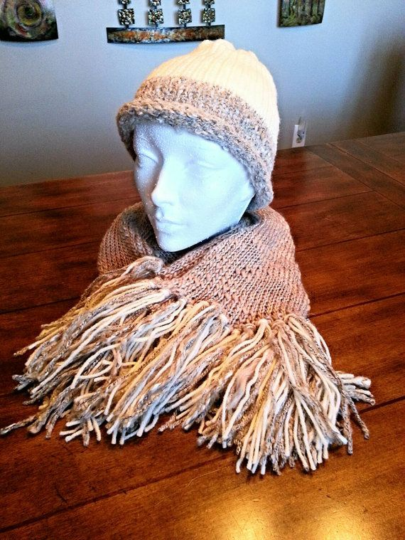 Check out this item in my Etsy shop https://www.etsy.com/listing/257057031/neutral-hand-knit-scarf-and-hat-set-with