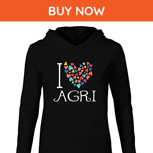Idakoos - I love Agri colorful hearts - Cities - Hooded Long Sleeve T-Shirt - Cities countries flags shirts (*Amazon Partner-Link)