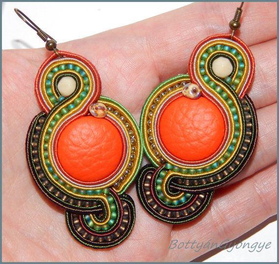 Autumn forest asymmetric soutache earrings by BottyanGyongye