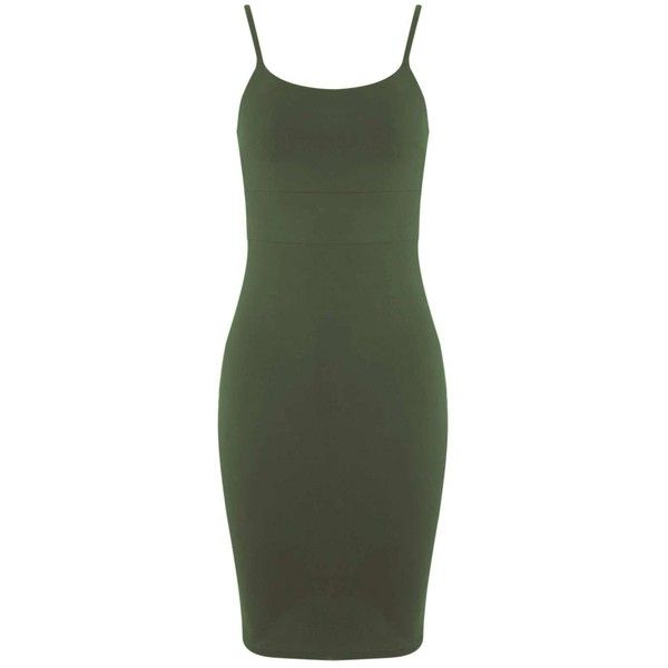 Khaki Strappy Bodycon Dress - Miss Selfridge ❤ liked on Polyvore featuring dresses, body conscious dress, miss selfridge, strappy bodycon dress, body con dress and green dress