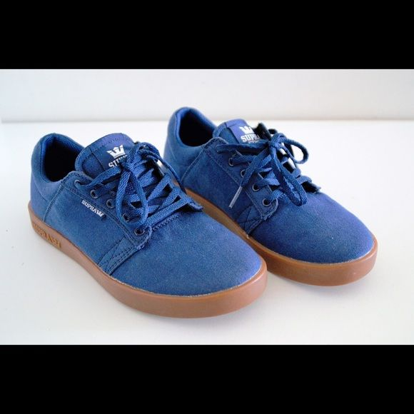 Supra women's low top sneakers! NWOT Supra women's low top sneakers. Size 6. Canvas upper. Rubber soles. Blue color. Supra logos. Known to be Very comfy shoes! Perfect for walking and any fashion! Supra Shoes Sneakers