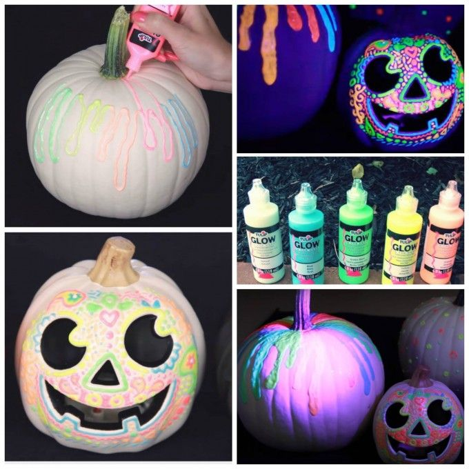Glow in the Dark Pumpkins...these are the BEST DIY Carved & Decorated Pumpkin ideas for Halloween!