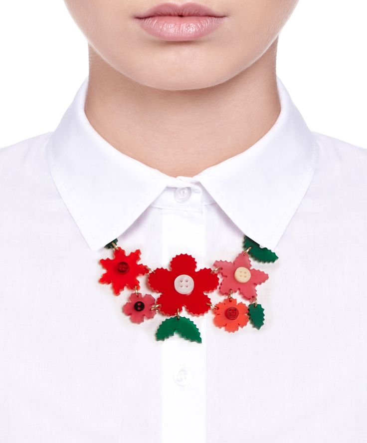 Craft Flower Large Necklace - Red