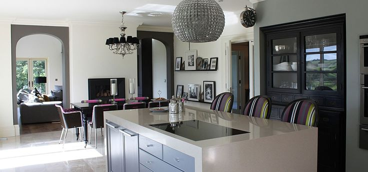 Eclectic mix of materials & furnishings create a stylish Kitchen. Designed by Missi Gray Interior design.