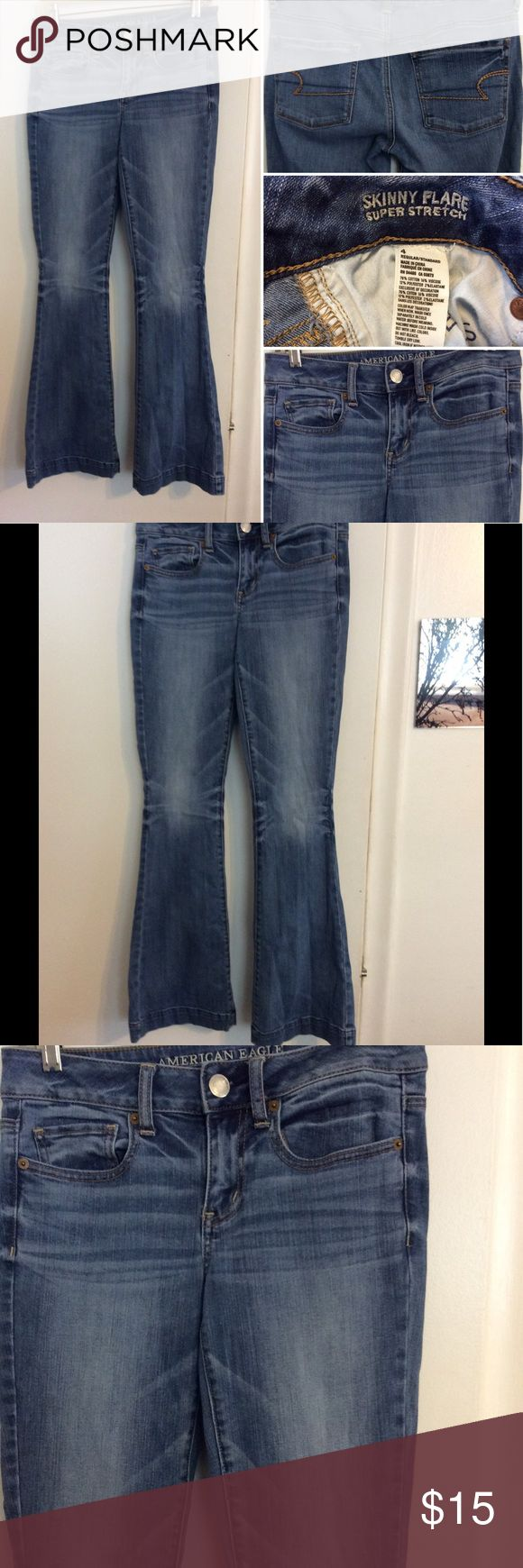 American Eagle Skinny Flare Super Stretch Jeans These American Eagle skinny flare jeans are in excellent new like condition. They are a super stretch denim and have a factory hem at the bottom. They are a size 4 and are a cotton blend American Eagle Outfitters Jeans Skinny